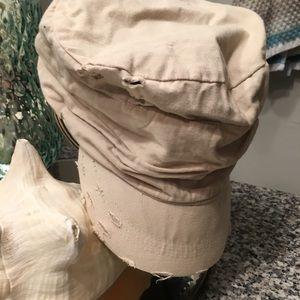 D&Y Kahki/ Beige Vintage Distressed Cadet Hat